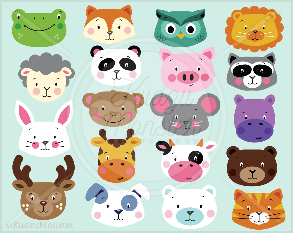 Cute Animal Faces Clip Art