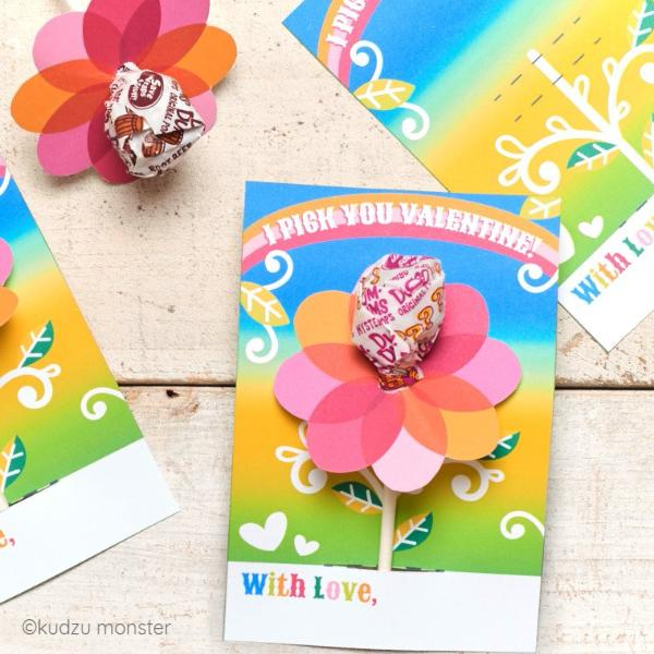 Flower Lollipop Valentine Card