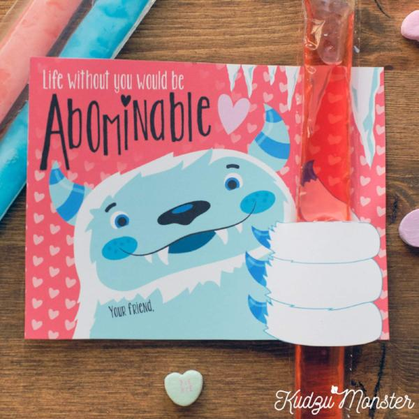 Yeti Freezer Pop Valentines