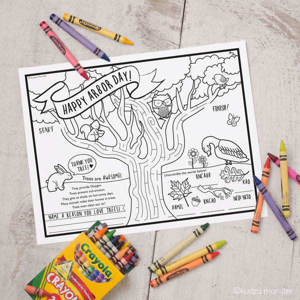 FREE Printable Arbor Day Coloring & Activity Sheet - Kudzu Monster