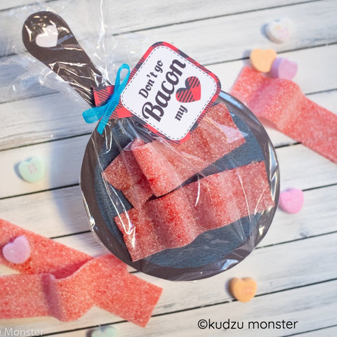Printable bacon candy valentine