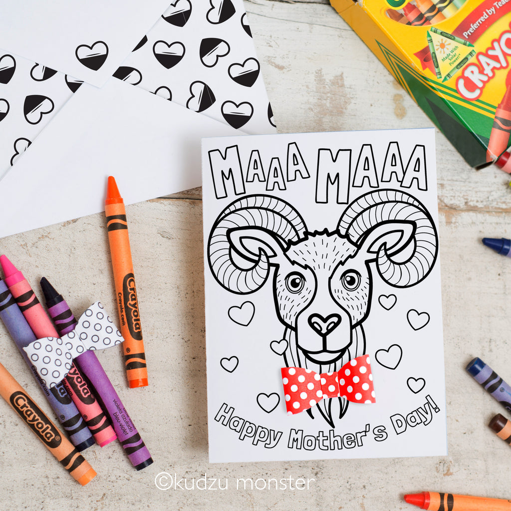 Coloring Activity Mother's Day Card: Bighorn Sheep