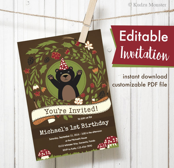 Woodland Bear Printable Invitation - Kudzu Monster  - 1