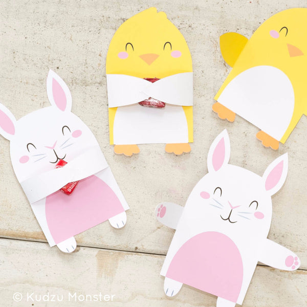 Printable Easter Bunny & Chick Candy Huggers - Kudzu Monster
