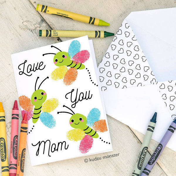Finger Paint & Coloring Butterflies Mom Card