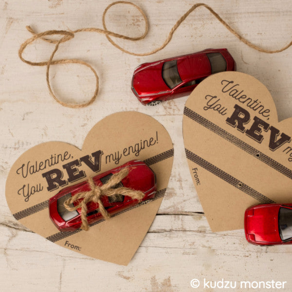 FREE hotwheels car toy valentine printable - Kudzu Monster