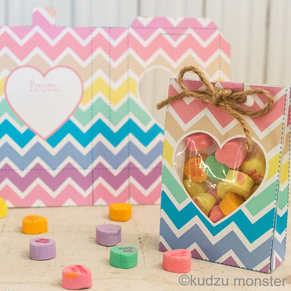 Valentine Chevron Goody Bag - Kudzu Monster