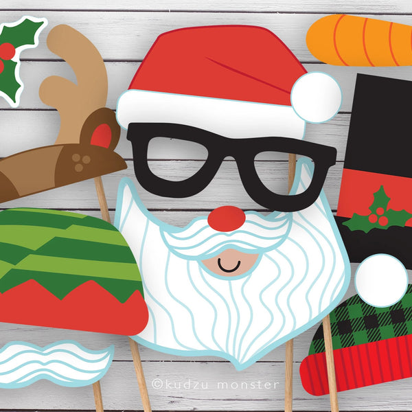 Christmas Photo Booth Props Masks