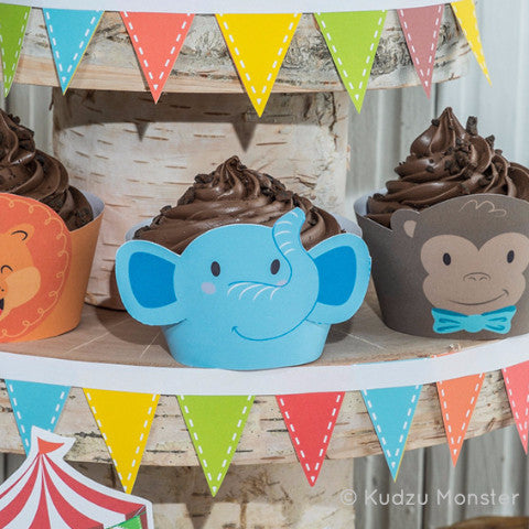 Printable Carnival Cupcake Wrappers - Kudzu Monster  - 1