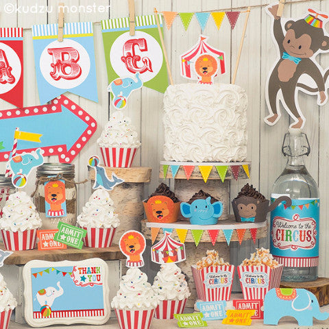 Printable Circus Party Deluxe Decor Kit - Kudzu Monster  - 1