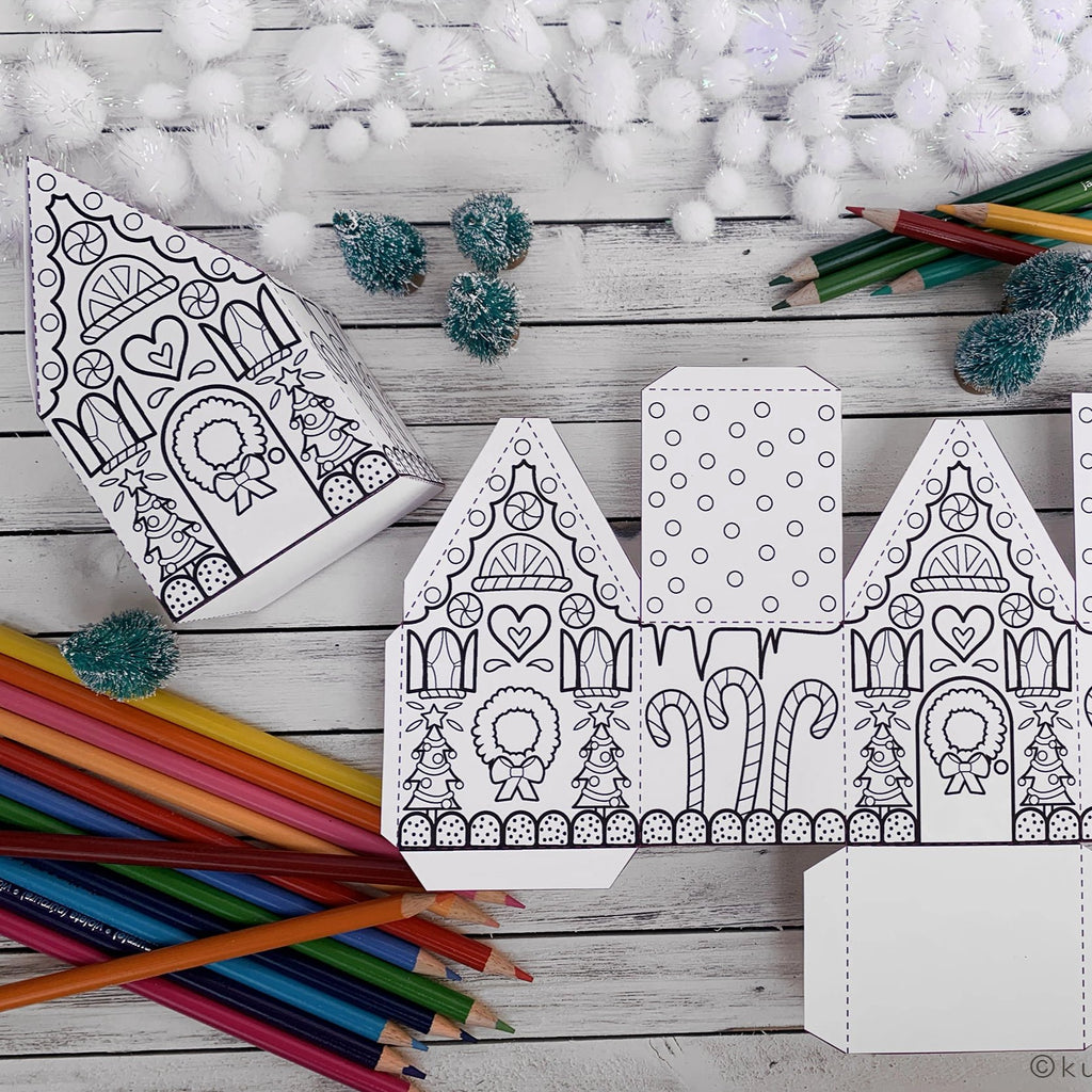 Coloring Gingerbread House Box