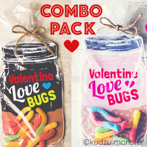 Combo Pack of Love Bug Mason Jar Valentine - Kudzu Monster
