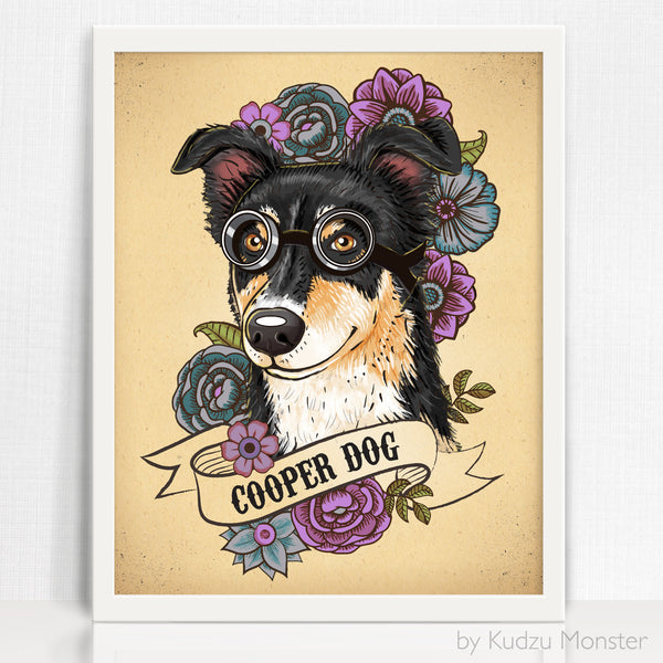 Custom Dog Portrait and art print - Kudzu Monster  - 1