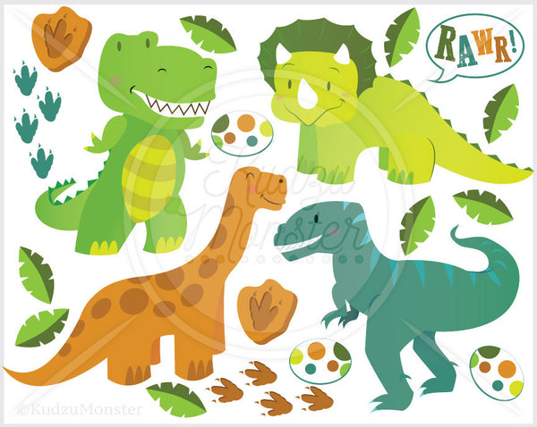 Cute Baby Dinosaur Clip Art Graphics - Kudzu Monster