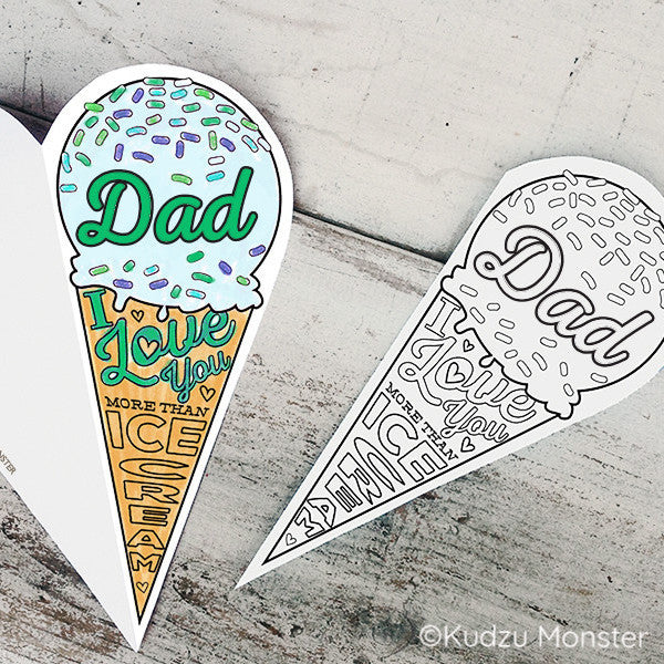 Ice Cream Cone Father's Day Coloring Greeting Card