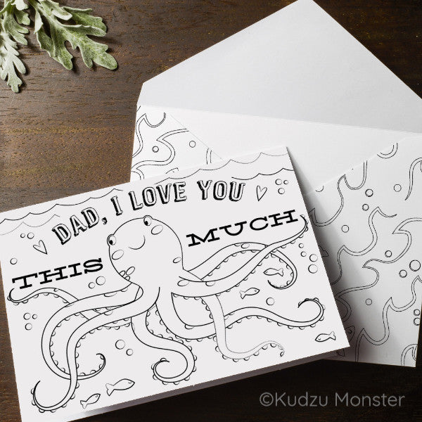 Octopus Father's Day Coloring Greeting Card