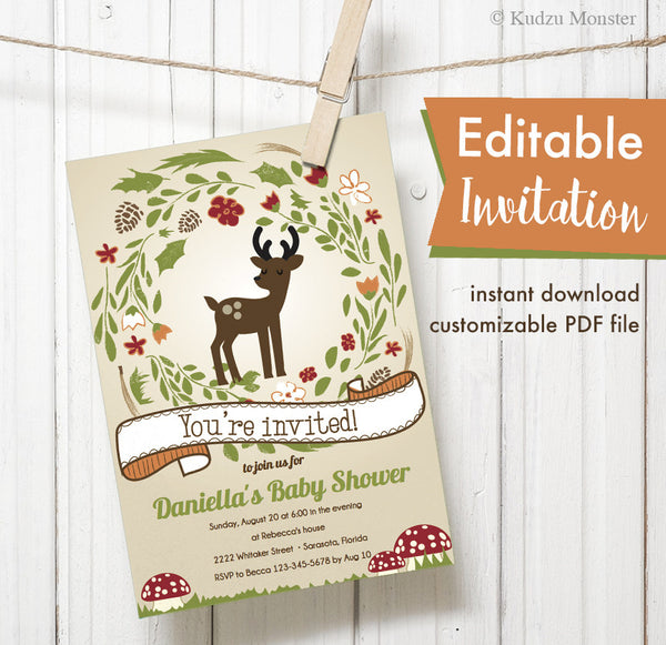 Woodland Deer Printable Invitation - Kudzu Monster  - 1
