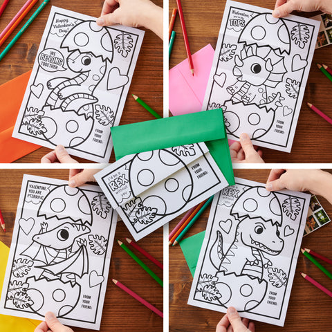 Printable dino egg folding surprise coloring page valentine variety pack