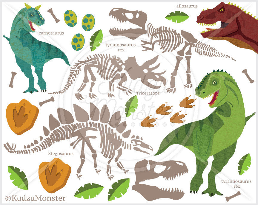 Dinosaur Fossil Clip Art Graphics - Kudzu Monster