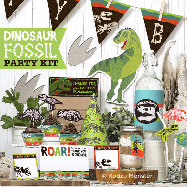 Printable Dinosaur Fossil Deluxe Party Kit - Kudzu Monster