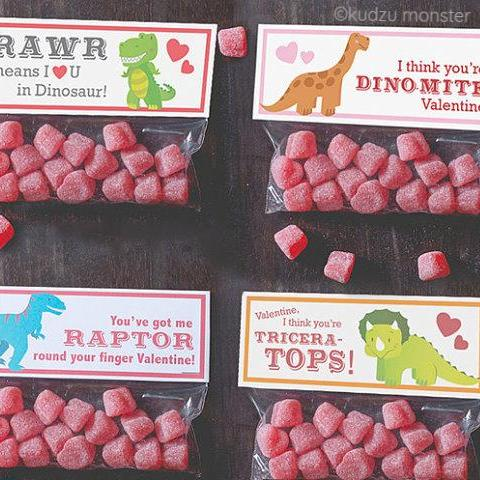 Valentine Dinosaur Treat Topper Combo Pack
