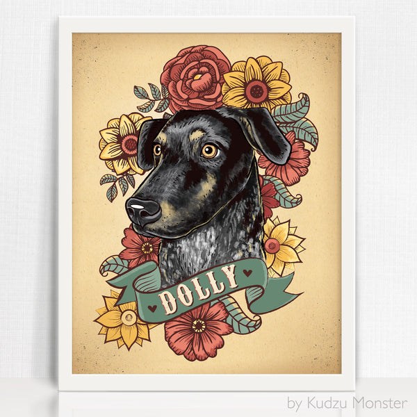 Custom Dog Portrait and art print - Kudzu Monster