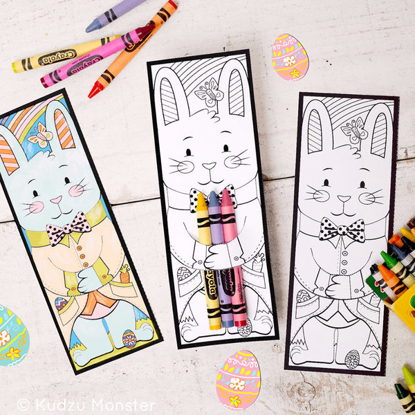 Easter Bunny Crayon Holders Coloring Sheet - Kudzu Monster