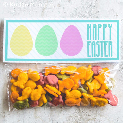 Printable Colorful Easter Egg Treat Topper - Kudzu Monster