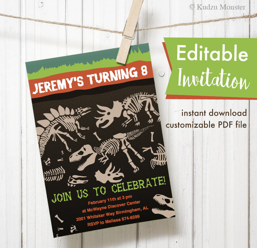Dinosaur Fossil Printable Invitation - Kudzu Monster  - 1