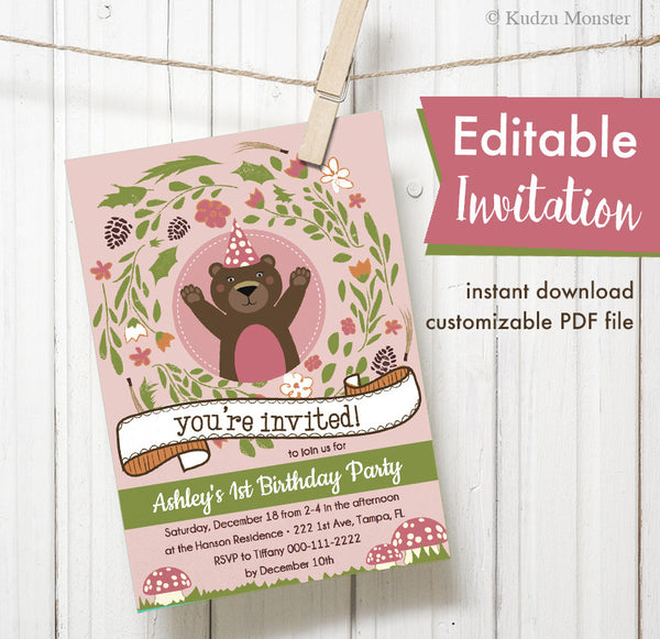 Pink Woodland Bear Printable Invitation - Kudzu Monster  - 1