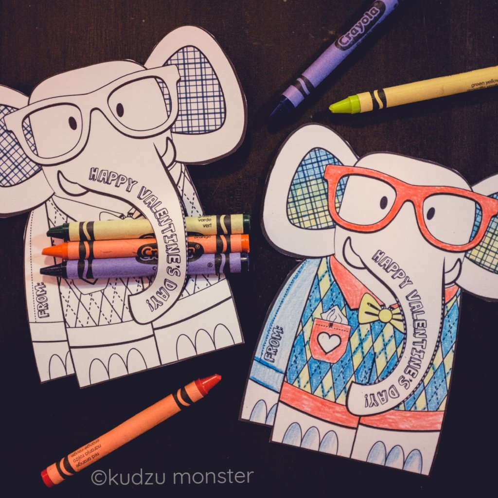 Valentine Elephant Coloring Huggers