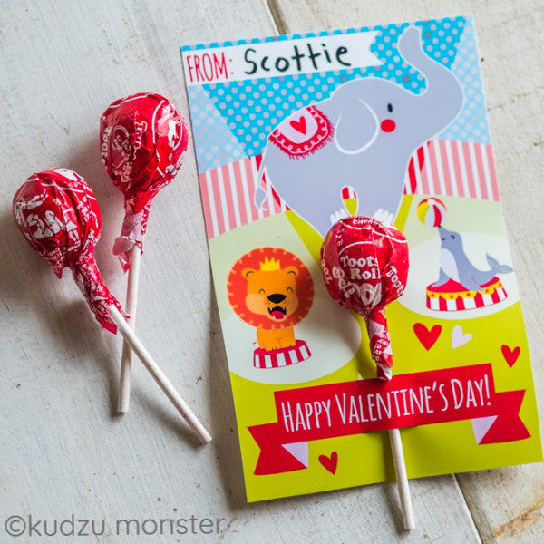Circus Lollipop Valentine Card Kudzu Monster – Elephant Valentines Card