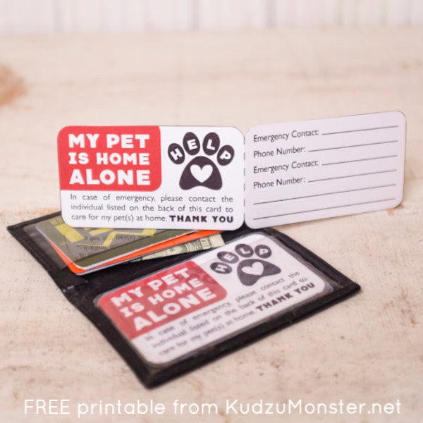 photograph about My Dog is Home Alone Card Printable titled Absolutely free Printable Canine Unexpected emergency Call Card Kudzu Monster