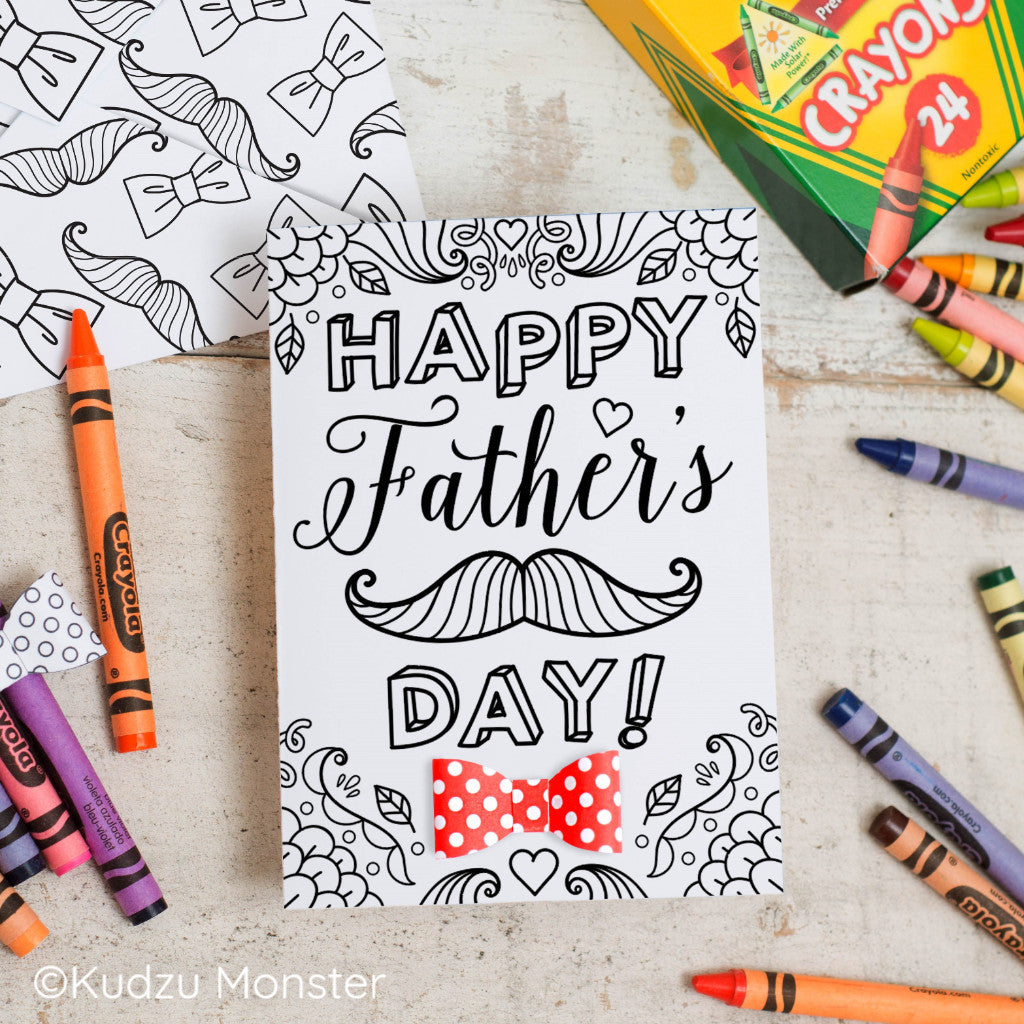 Mustache Father's Day Coloring Greeting Card Activity