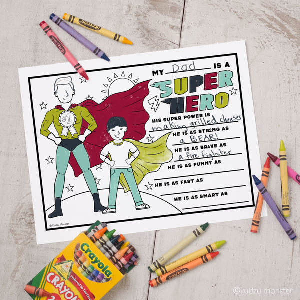 Father's Day Super Hero Coloring Sheet