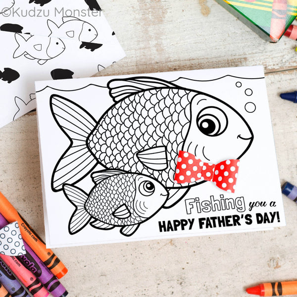 Fish Father's Day Coloring Greeting Card Activity
