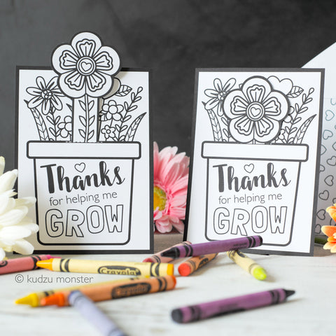 Coloring Mother's Day Growing Flower Card