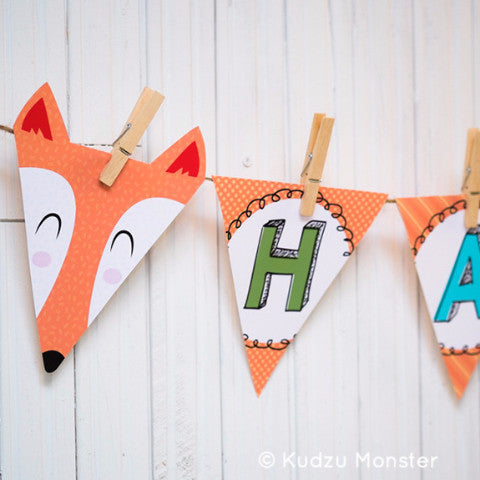 Printable Fox A-Z Party Banner - Kudzu Monster  - 1