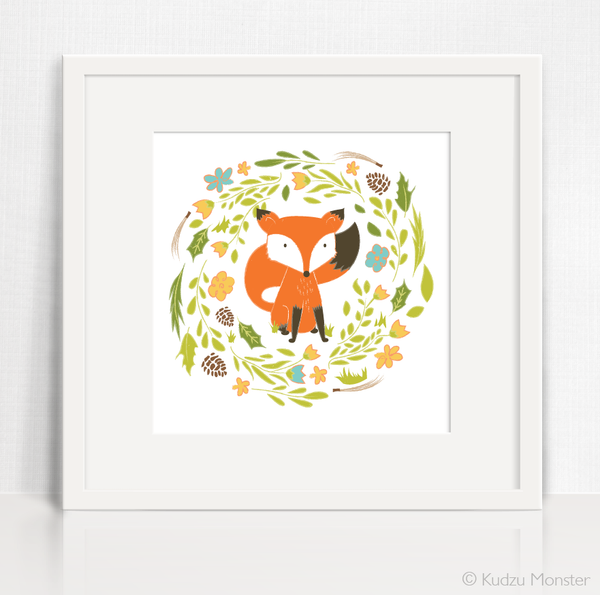 Woodland Fox Instant Artwork printable - Kudzu Monster