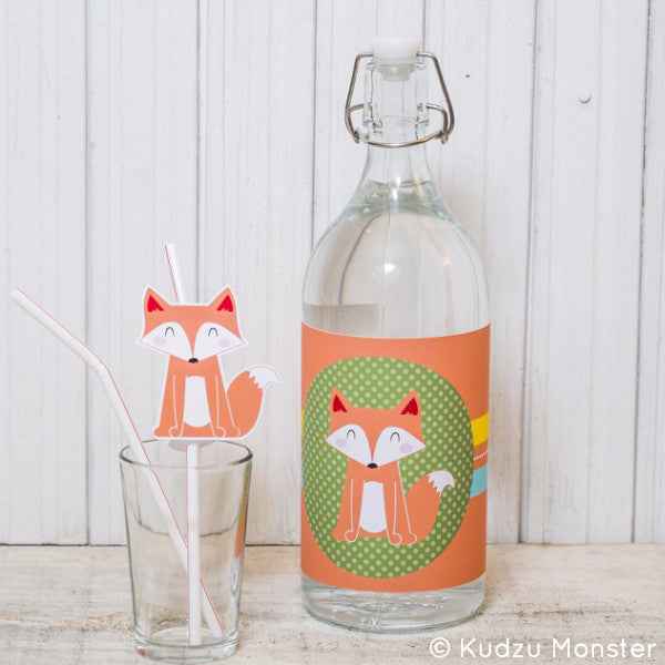 Printable fox party drink kit - Kudzu Monster