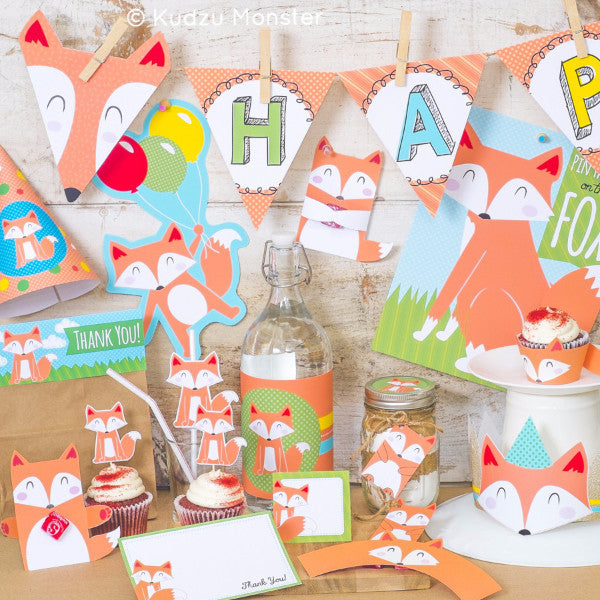 Printable Fox Party Decor Deluxe Kit - Kudzu Monster  - 1