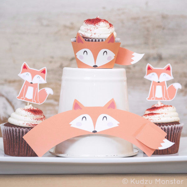 Printable Fox Cupcake Kit - Kudzu Monster