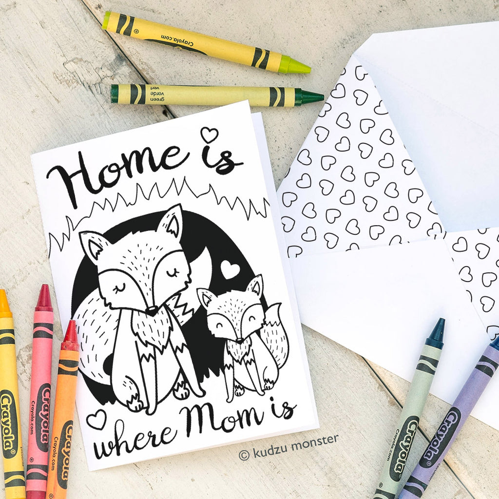 Coloring Activity Mother's Day Card: Fox Den