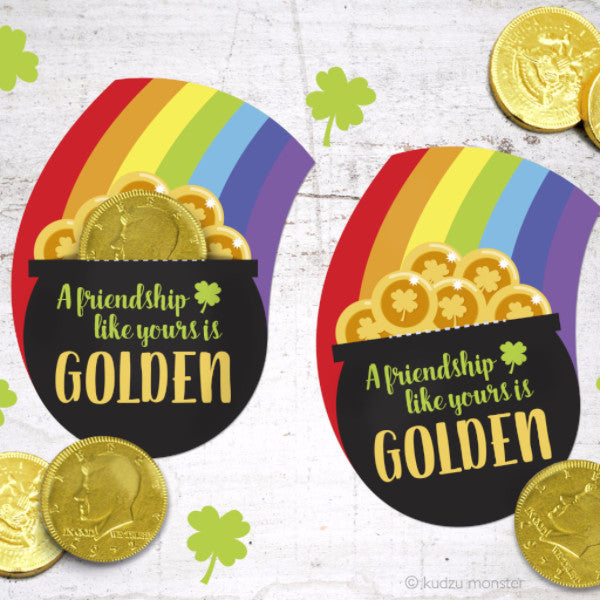 photograph about Printable Gold Coins titled Printable Pot O Gold Coin Holder