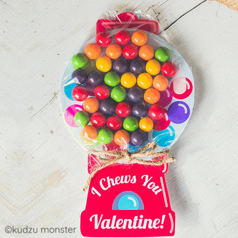 Printable gumball machine candy valentine