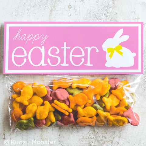 Printable Pink Easter Treat Topper - Kudzu Monster
