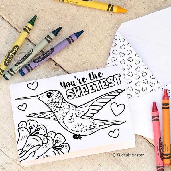 Coloring Activity Mother's Day Card: Hummingbird