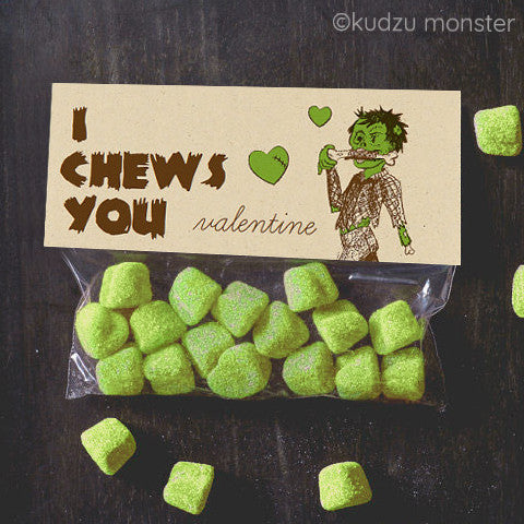 Valentine Zombie I Chews You Treat Topper - Kudzu Monster