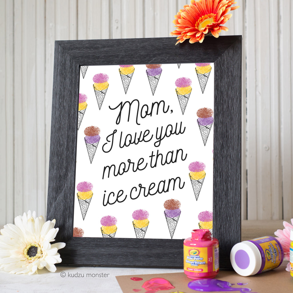 Mother's Day Finger Paint Art Activity: Ice Cream