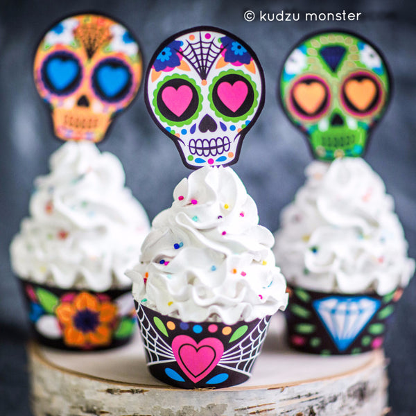 Sugar Skull Cupcake Printable Kit - Kudzu Monster